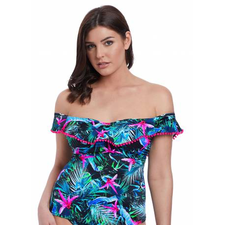 Tankini  Jungle Flower Black Tropical Uw Padded Bardot