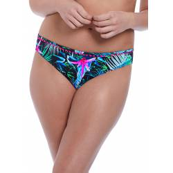 Braguitas de bikini tropicales negras de Jungle Flower