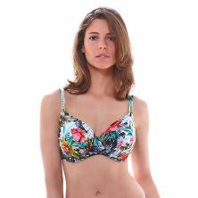 Top de bikini full cup drapeadomulticolor, colección Wakaya de Fantasie