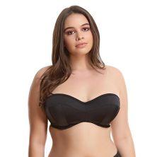 Top de bikini bandeau negro Indie de Elomi frente