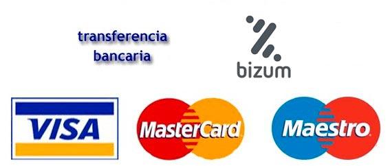 logos tarjeta de crédito, bizum y transferencia